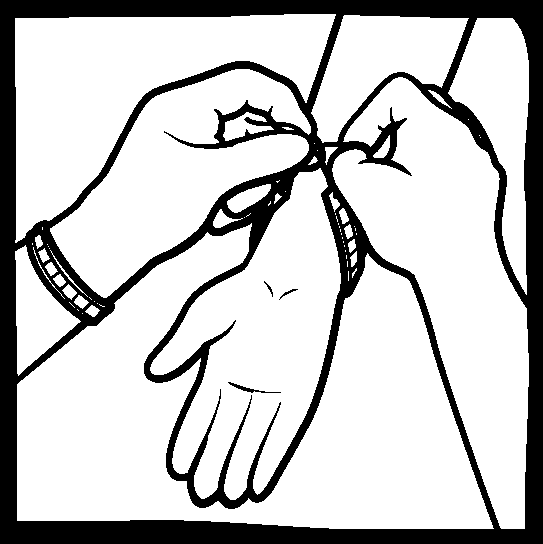 Two hands tying a bracelet onto another.